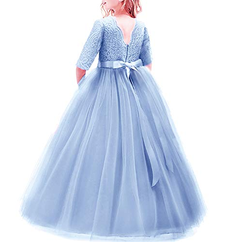 IBTOM CASTLE Girls 3/4 Sleeve Tulle Lace Flower Party Dress Long Princess Gown A Line Floor Length Wedding Bridesmaid Evening Formal Prom Pageant Dress for Kids Light Blue 4-5 Years