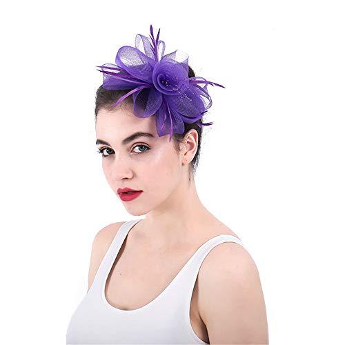 Jklj Pince à Cheveux Coiffe De Plumes Violet Net Hoop Plumes Cheveux Bibi Bandeau Pince Cheveux Rétro