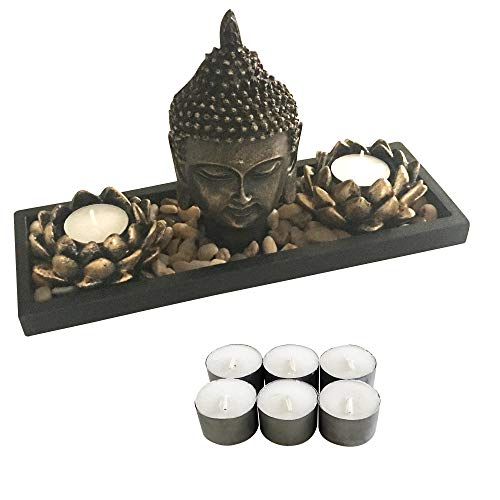 Zenbience Zen Buddha Candle Holder Statue Head, 6 Longer Lasting Soy Tealight Candles in Lotus, 100% More Rocks, Wooden Tray. Relaxing Decor for Home, Living Room, Bedroom. Stylish, Safe, Burns Cooler