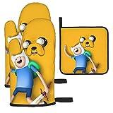 yongxing Cartoon Funny Adventure Time - Guantes de horno y manoplas - Juego de 3 alfombrillas antideslizantes y resistentes al calor - Ideales para cocina y barbacoas