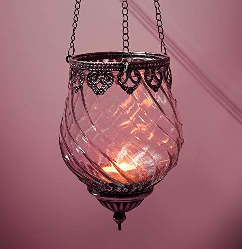 """Dekoleidenschaft Windlichthänger """"Orient"""" aus Glas & Metall, orientalischer Teelicht- & Kerzenhalter zum Aufhängen, Windlicht, hängend, Antiksilber"""
