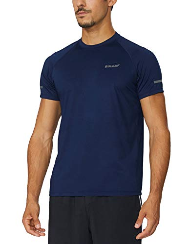BALEAF Men's Quick Dry Short Sleeve T-Shirt Running Workout Shirts Navy Size L