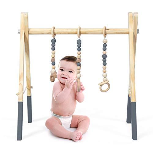 COSTWAY Baby Spielbogen Holz, Spieltrapez...
