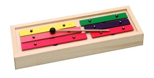 Goldon - Glockenspiel, pentatonisch, Resonanzkörper aus Fichtenholz, Klangplatten aus Leichtmetall, 25x4 mm, 1 Gummischläger