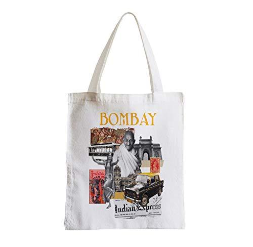 Big Canvas Tote Shopper Bag Bombay Vintage Collage Mumbai Travel India Gandhi