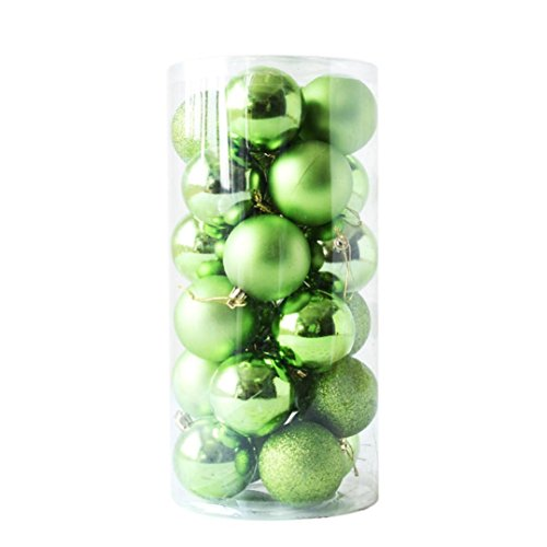Ouneed- Paillette Boule de Noel Sapin de Noel Boules Mixte 6cm 24pcs Noel Decoration Interieux (Vert)