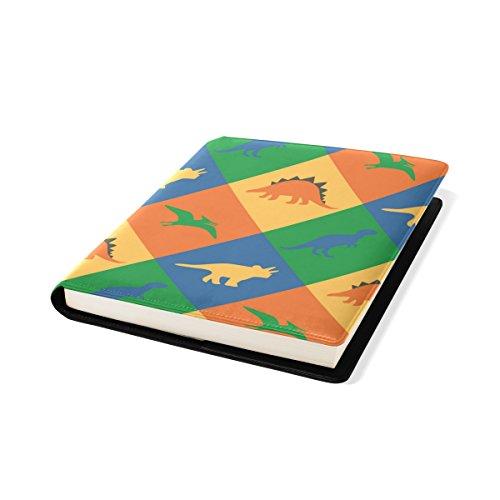 COOSUN Dinosaurier-Patchwork Buch Sox dehnbare Buchdeckel, geeignet für die meisten Hardcover Lehrbücher bis zu 9 x 11. leimlose, PU-Leder-Schule-Buch-Schutz 9-x-11-Zoll mehrfarbig