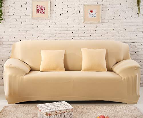 Buybuygo - Funda de sofá para salón, elástica, funda de sofá antideslizante, funda universal de spandex para funda de sofá extensible 1/2/3/4 plazas, beige, 2 places 145-185cm