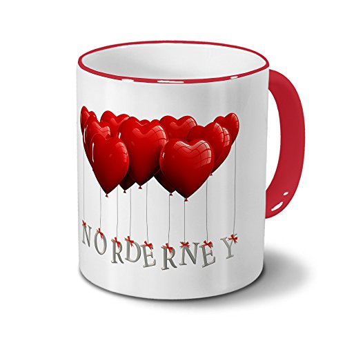 Städtetasse Norderney - Design Herzballons - Stadt-Tasse, City-Mug - Becher Rot