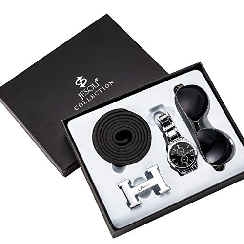 YHX 3 Stück/Set Herren Geschenkset Aus Leder Geldbörse Gürtel Brille Set Schwarz Hochzeitstag Geschenke, A