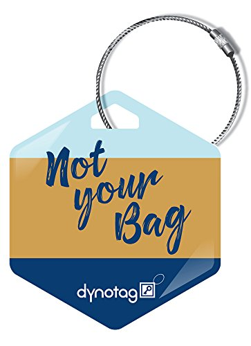 Dynotag Web Enabled Smart Deluxe Steel Property ID Tag + Steel Ring, with DynoIQ & Lifetime Recovery Service. Hexagon (NotYourBag)