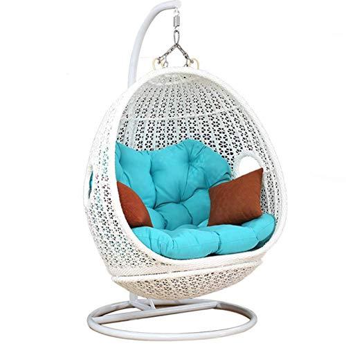 ZHJIUXING SF Baby schaukel Indoor,Wicker Hanging Rattan Chair Swing, Hängematten-Eierstühle - Aluminiumrahmen Mit Wasserfesten Kissen, Schaukel Im Innenbereich, White