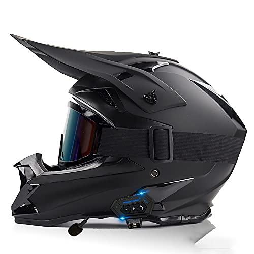 NAINAIWANG Casco Motocross Bluetooth Integrado para Adultos Dirt Bike Moto de Cara Completa para niños niñas Quad Bikes BMX Bicicleta MTB ATV Offroad con Guantes Gafas Máscara Aprobado ECE