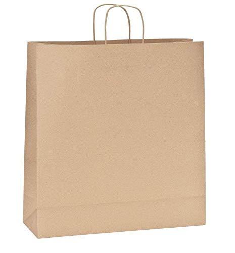 Yearol K08 Bolsas de papel kraft grandes marron con asas. 35 * 14 * 36 Para regalo, comunion, bodas, cumpleaños, tiendas, compra, venta, eventos. Base plana. Recliclables y biodegradables