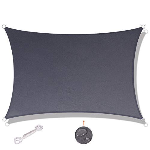 SUNNY GUARD Tenda a Vela Rettangolare 2x2m Antivento Impermeabile Protezione Raggi UV per Giardino terrazza Campeggio, Antracite