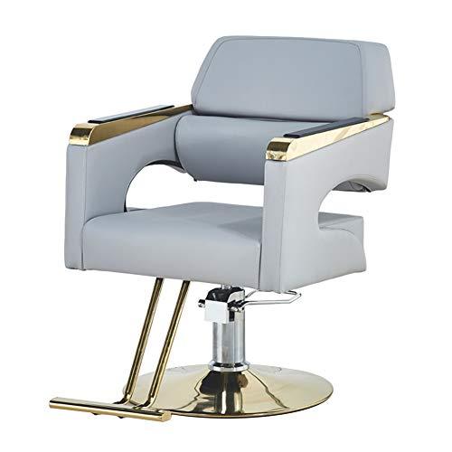 MYYU Silla De Peluquería Cuero PU Impermeable Salón De Belleza Barbero con Pedales Y Base Antideslizante,Light Gray