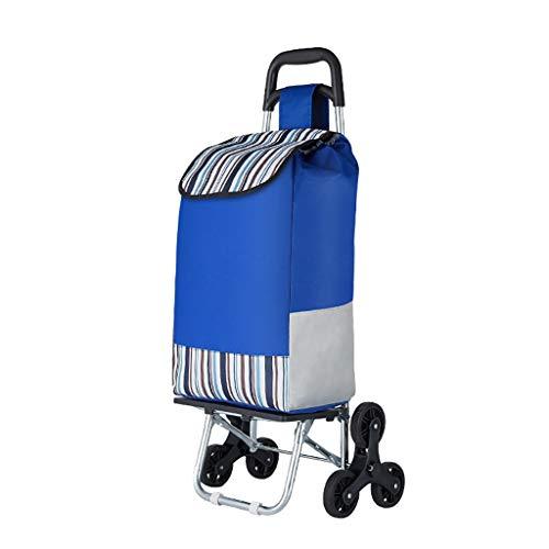XIAOQIAO 6-Rad-Einkaufswagen, Faltbare Einkaufswagen Trolley, Einkaufswagen mit Kühltasche, Abnehmbare große Kapazitäts-Tasche (Color : Blue)