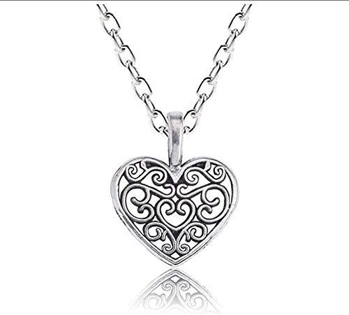 WYDSFWL Collar Vintage Steampunk corazón Collar Mujeres Simples Flores Huecas Collares Colgante Encanto joyería Collar Collier