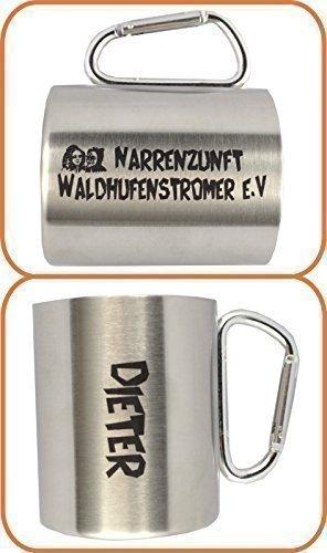 MATO Edelstahlbecher mit Karabinerhaken graviert Narren Isolierbecher doppelwandig mit Gravur 0,3l