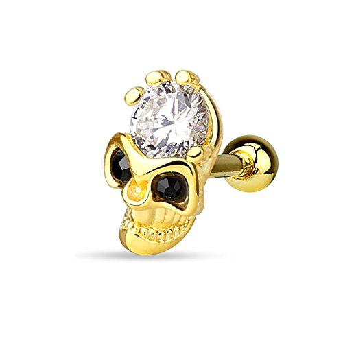 Piercingfaktor Tragus Helix Ohr Cartilage Knorpel Piercing 316 L Chirurgenstahl Stecker Totenkopf vergoldet mit Kristall Gold
