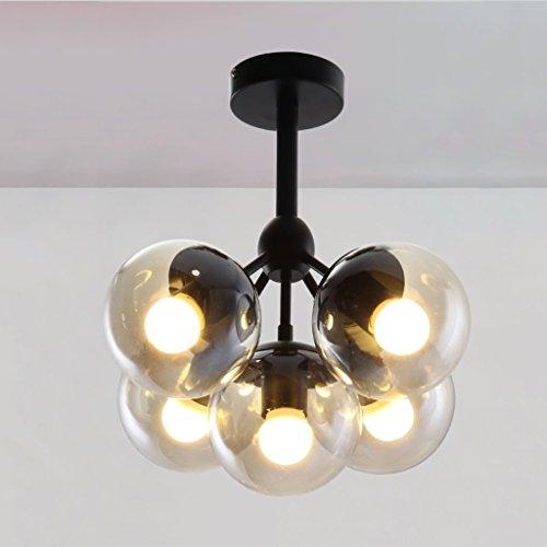 Generieke 5-Head glazen bol kunstlicht Dual Use Energy Saving kroonluchter ijzer LED hanglamp voor woonkamer, 25cm * 35cm 305