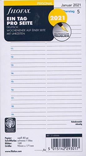 Filofax 2021 Personal Kalender 1Tag 1Seite A6 Tagesblätter Einlage DEU Kalendarium 21-68446