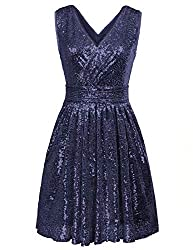 Sleeveless Short Sequin Navy Blue Dress