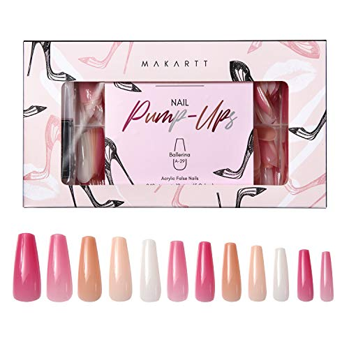 Makartt Nail Tips with Nail Glue File Kit, Ballerina Nude Colour Full Cover Press On Nails, 4pcs Nail Glues 1pcs Nail File with Case Acrylic Nail Kit, A-28