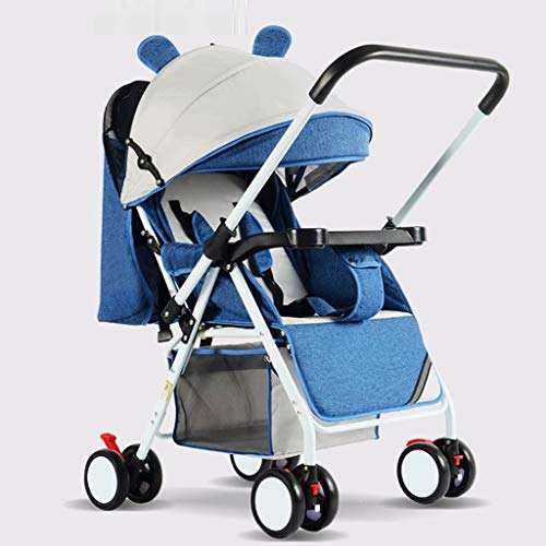 JLFSDB Lightweight Stroller, Folding Pushchair Sitting and Lying Mini Four-Wheeled Baby Buggy with Mosquito Net, Wrist Band from Birth 3 to 5 Years, 0-15 Kg (Color : Blue)
