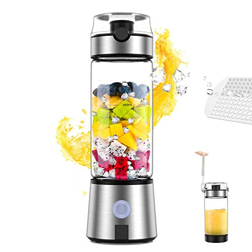 Portable Blender, Smoothie Blender, Personal Size Blender USB Rechargeable Shakes and Smoothies Juicer Cup, with 4000mAh USB Batteries, BPA Free, Protein Juice Blender Mixer (Silver)