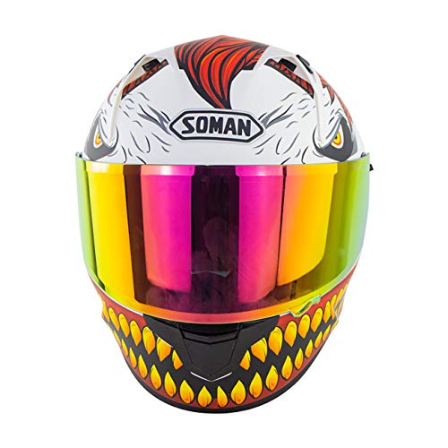 Full Face Motorcycle Helmet X9 DOT/ECE Certification L 58-59CM Colorful Lens Moped Street Car Racing Adult Outdoor Travel