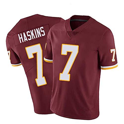 WHUI Haskins Rugby Jersey # 7, Uniforme de la Competencia de Entrenamiento Transpirable Adulto, Camiseta de Deportes de Manga Corta de Rugby Americano, Rojo Red-XL