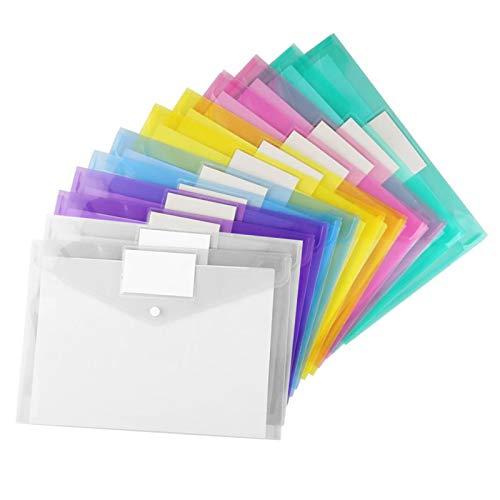 Packung mit 12 A4-Dokumentenmappen Ablegen, Dokumentenmappe mit Druckknopf, Projektumschläge in 6 Farben Transparenter, für Lehrmaterialien, Bürodokumente, Schreibwaren und Reiseaccessoires