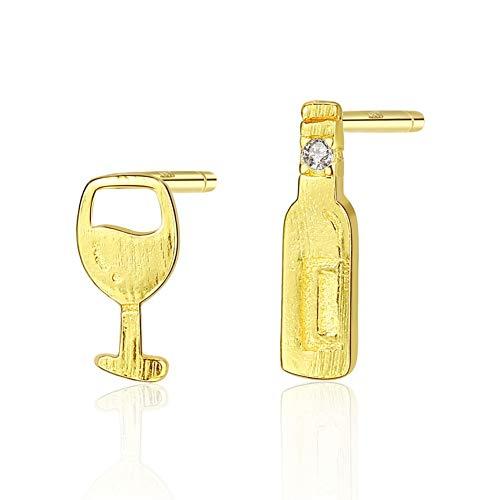 925er Silber Ohrringe Damen, Exquisite Einfache Weinglas Weinflasche Asymmetrische Gebürstete Ohrclips Süße Goldfarbe Ohrlinie, Charme Hochzeit Mädchen Ohrstecker Hypoallergen Schmuck Zubehör