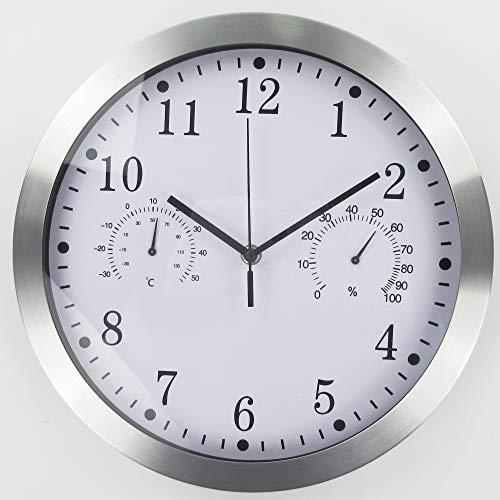 Orologio da parete in metallo al quarzo, 30 cm, moderno, silenzioso, senza ticchettio, con termometro, misura la temperatura di umidità per cucina, soggiorno, camera da letto, ufficio (argento)