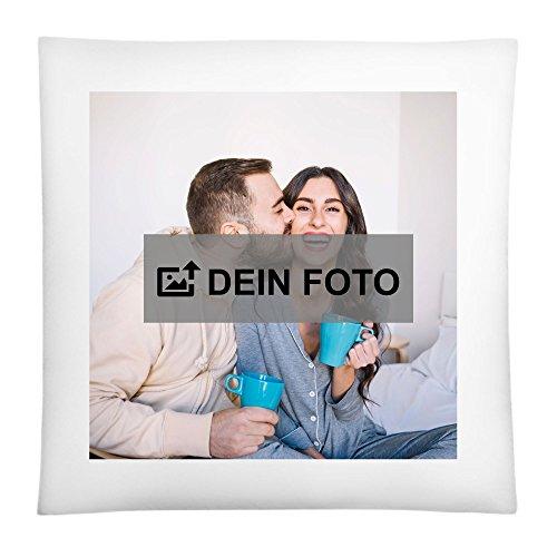 CVLR Fotokissen Weiss mit Füllung 40 x 40cm - Personalisiertes Kissen mit eigenem Foto Oder Text aus 100% Baumwolle zum selbst gestalten geeignet als Kopfkissen, Zierkissen, Dekokissen oder Geschenk