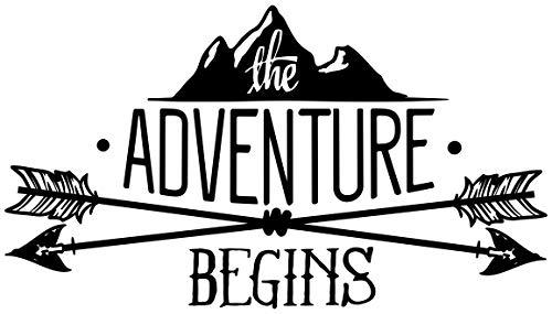 Samunshi Adventure Begins Schriftzug Aufkleber Sticker Autoaufkleber Scheibenaufkleber Motorradaufkleber in 10 Größen (8x4,6cm schwarz)