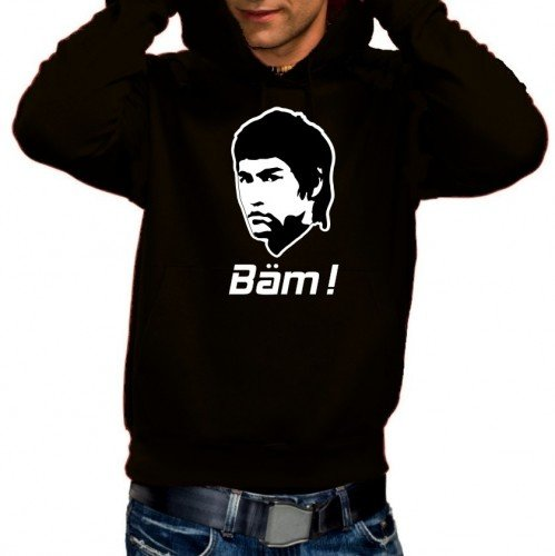 Coole-Fun-T-Shirts BÄM - Bruce LEE ! Hoodie Sweatshirt schwarz Gr.XL