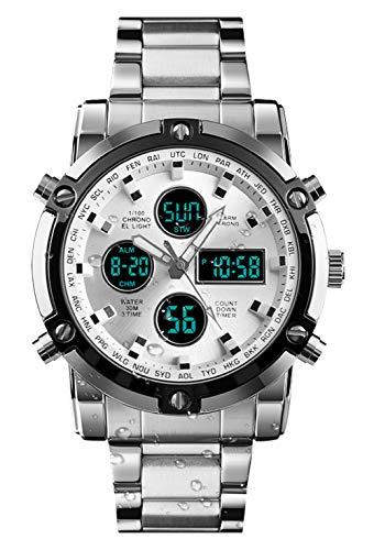 BHGWR Herren Analog Digital Quarz Uhr mit Silber Edelstahl Armband, Herren Militär Sportuhr mit Wecker/Countdown/Stoppuhr, großes Gesicht wasserdicht Digitaluhr Armbanduhr für Männer (S-Silber)