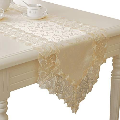 Runner Corredor de mesa de encaje floral blanco para el país rústico de la boda, la ducha nupcial, la ducha de bebé, las cenas de la luz de las velas Fatto A Mano ( Color : Beige , Size : 40*280cm )
