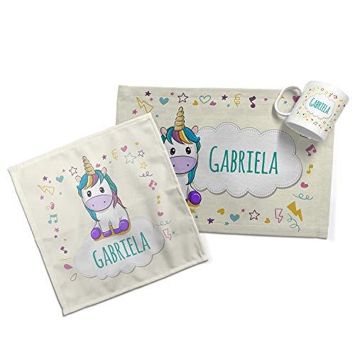 LolaPix Set Desayuno Infantil. Taza/Mantel/Servilleta Personalizados con Nombre y Texto. Varios Diseños a Elegir. Unicornio