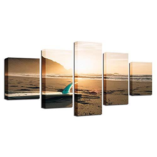 Tabla de surf puesta de sol mar después de la marea caída HD lienzo arte impresión pintura para sala de estar decoración de pared 5 piezas imagen 40x60 40x80 40x100cm sin marco