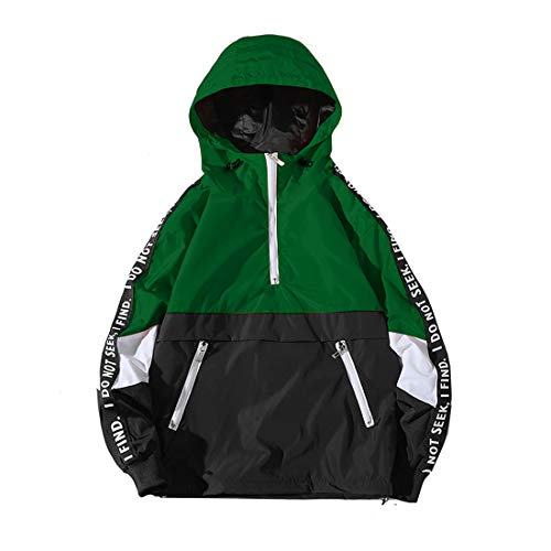 ONTTNO Mens Pullover Hooded Waterproof Lightweight Windbreaker Jackets (Large, Green)