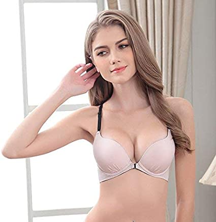 Lace back front buckle bra gather small chest neck hanging smooth size vest type thin female (color   75AB, Size   Black)