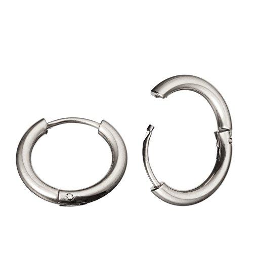 KOKER, orecchini a cerchio in acciaio inossidabile, 10mm, spessore: 1,02 mm, a segmento continuo con giunzione a cerniera e Acciaio inossidabile, colore: Silver,inner Diameter:10mm, cod. KU1709EHQCx3