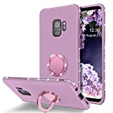 Telaso Samsung Galaxy S9 Case, Slim Liquid Silicone Sparkle Bling Diamond Rhinestone Bumper with Ring Kickstand Shockproof Protective Galaxy S9 Phone Case Cover for Girls Women, Purple/Lavander
