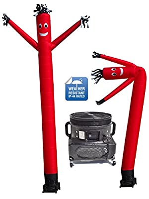 LookOurWay Air Dancers Inflatable Tube Man Complete Set with 1 HP Weather-Resistant Sky Dancer Blower, 20-Feet, Red