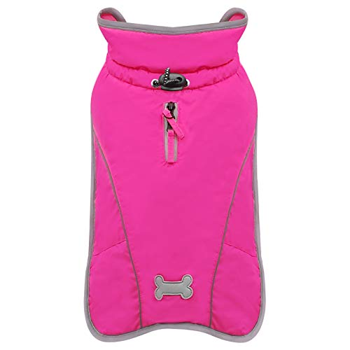 kyeese Dog Jacket Windproof Warm Fleece Lined with Reflective Strip Dog Cold Weather Coat Waterproof...
