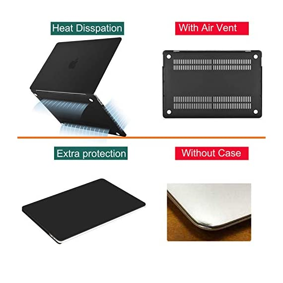 """Mosiso compatible with macbook pro 16 inch case with touch bar touch id, protective plastic hard shell case & keyboard cover & screen protector & storage bag 2 the case was designed only to be compatible with macbook pro 16 inch with touch bar & touch id & retina display (model: a2141, release in 2020 2019 -- mvvj2ll/a, mvvl2ll/a, mvvk2ll/a, mvvm2ll/a). Warning: this case is not compatible with other model laptops. Please kindly check the model number """"a2xxx"""" on the back of the laptop before your purchase, make sure you choose the exact same model number as the listing title stated """"a2141"""". No cut out design, transparency is different from color to color. Case dimension: 14. 17 x 9. 84 x 0. 7 inch, compatible with macbook pro 16 inch with touch bar and touch id with dimension: 14. 09 x 9. 68 x 0. 64 inch. Ultra slim light weight hard case has 13 oz in weight almost adds no weight to your laptop."""