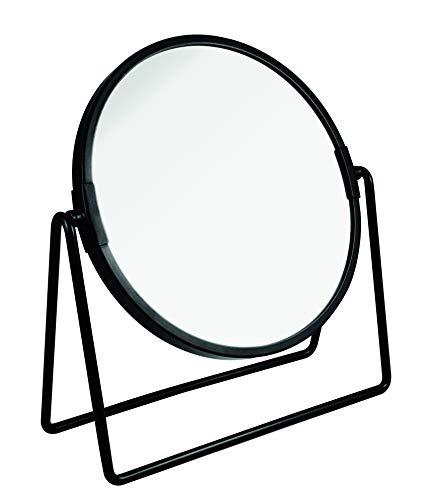 PARSA Beauty Kosmetikspiegel schwarz matt doppelseitig normal und 3-fach Vergrößerung zum Schminken Frisieren Rasieren Make-Up